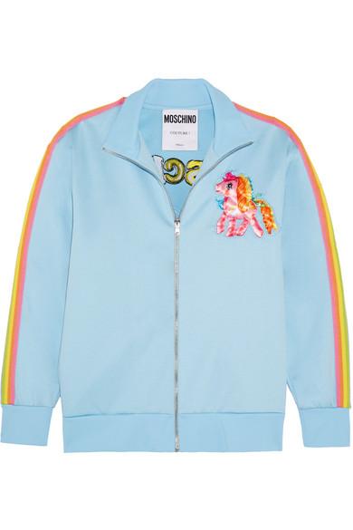 Moschino - My Little Pony Embroidered Cotton-blend Jersey Sweatshirt - Light blue