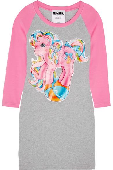 Moschino + My Little Pony bedrucktes Minikleid aus Jersey aus Stretch-Baumwolle