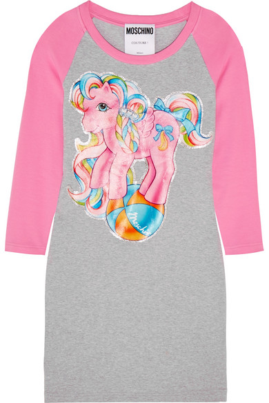 Moschino - My Little Pony Printed Stretch-cotton Jersey Mini Dress - Gray