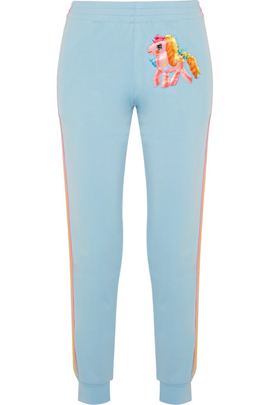 Moschino - My Little Pony Appliquéd Cotton-blend Jersey Track Pants - Light blue