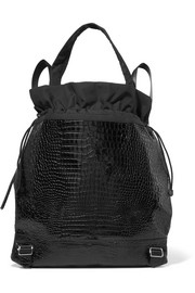 Keely croc-effect glossed-leather and shell backpack