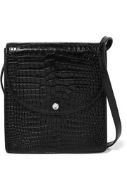 Eloise croc-effect glossed-leather shoulder bag