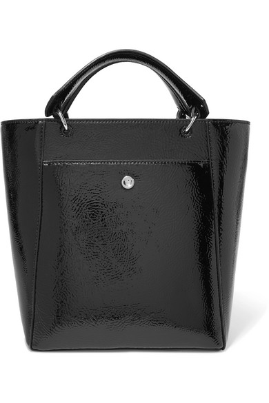 Elizabeth and James - Eloise Small Faux Patent Textured-leather Tote - Black