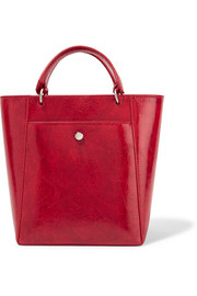 Eloise small patent textured-leather tote