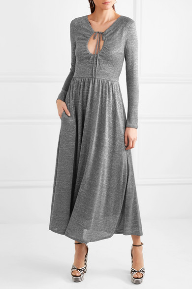 ALEXACHUNG Maxikleid aus Stretch-Strick in Metallic-Optik