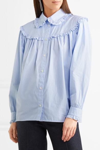 ALEXACHUNG Hemd aus gestreifter Baumwollpopeline mit Rüschen