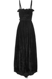 Ruffled shirred crushed-velvet maxi dress