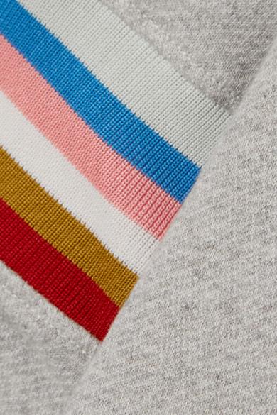 ALEXACHUNG Kapuzenoberteil aus Baumwoll-Jersey mit Streifen