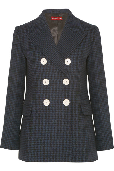 Double Breasted Houndstooth Wool Blend Felt Blazer by Alexachung