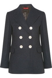 Double-breasted houndstooth wool-blend felt blazer