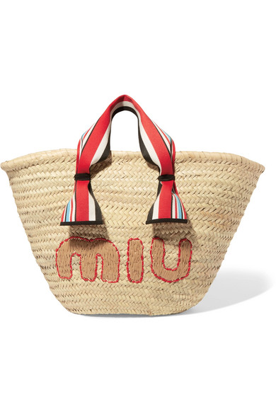 Miu Miu - Embroidered Straw Tote - Beige