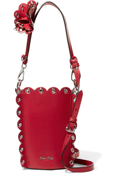 Miu Miu. Embellished leather bucket bag 24e6fdb085ea7