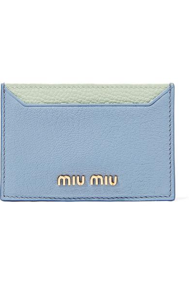 texturizado cuero de dos Portatarjetas tonos azul Miu en claro de RAqwCCT