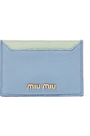 Two-tone textured-leather cardholder