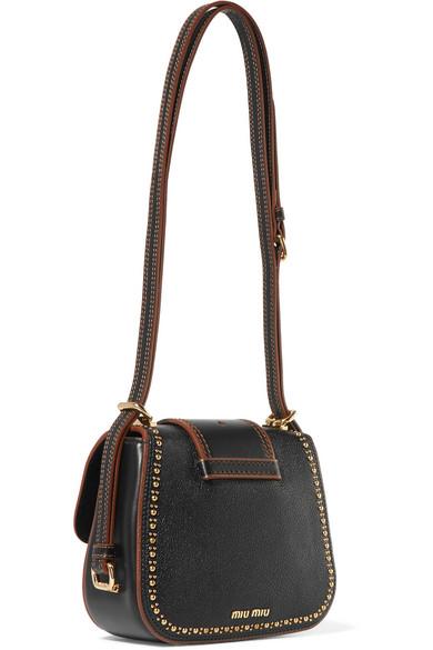 Miu Miu Dahlia Decorated Shoulder Bag Made Of Textured Leather
