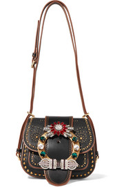 Dahlia embellished textured-leather shoulder bag
