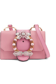 Miu Miu Miu Lady embellished smooth and textured-leather shoulder bag