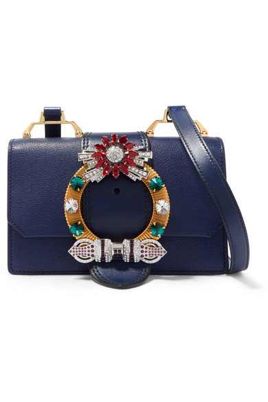d6fc0c1637b9 Miu Miu Miu Lady Embellished Smooth And Textured-Leather Shoulder Bag In  Navy
