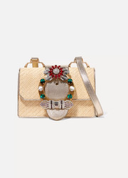 Miu Lady embellished raffia and textured-leather shoulder bag