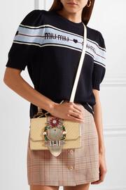 Miu MiuMiu Lady embellished raffia and textured-leather shoulder bag