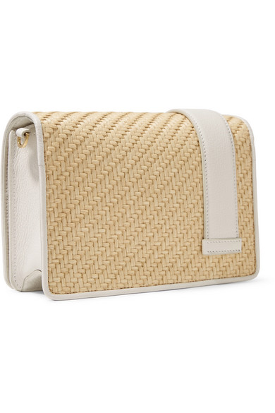 My Miu crystal-embellished textured-leather and raffia shoulder bag beccb4becbbf3