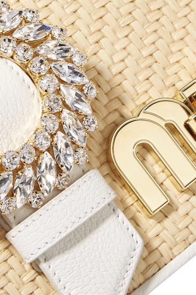 Miu Miu My Miu Schultertasche aus strukturiertem Leder und Raffiabast mit Kristallen