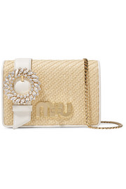 Miu Miu My Miu crystal-embellished textured-leather and raffia shoulder bag