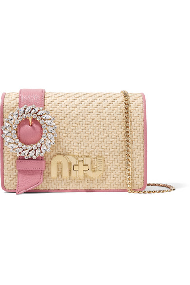Miu Miu. My Miu crystal-embellished textured-leather and raffia shoulder bag 4bb217e5b96a5