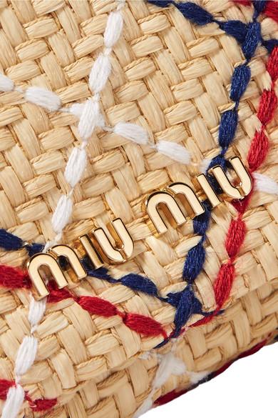 Miu Miu Verzierte Schultertasche aus Raffiabast