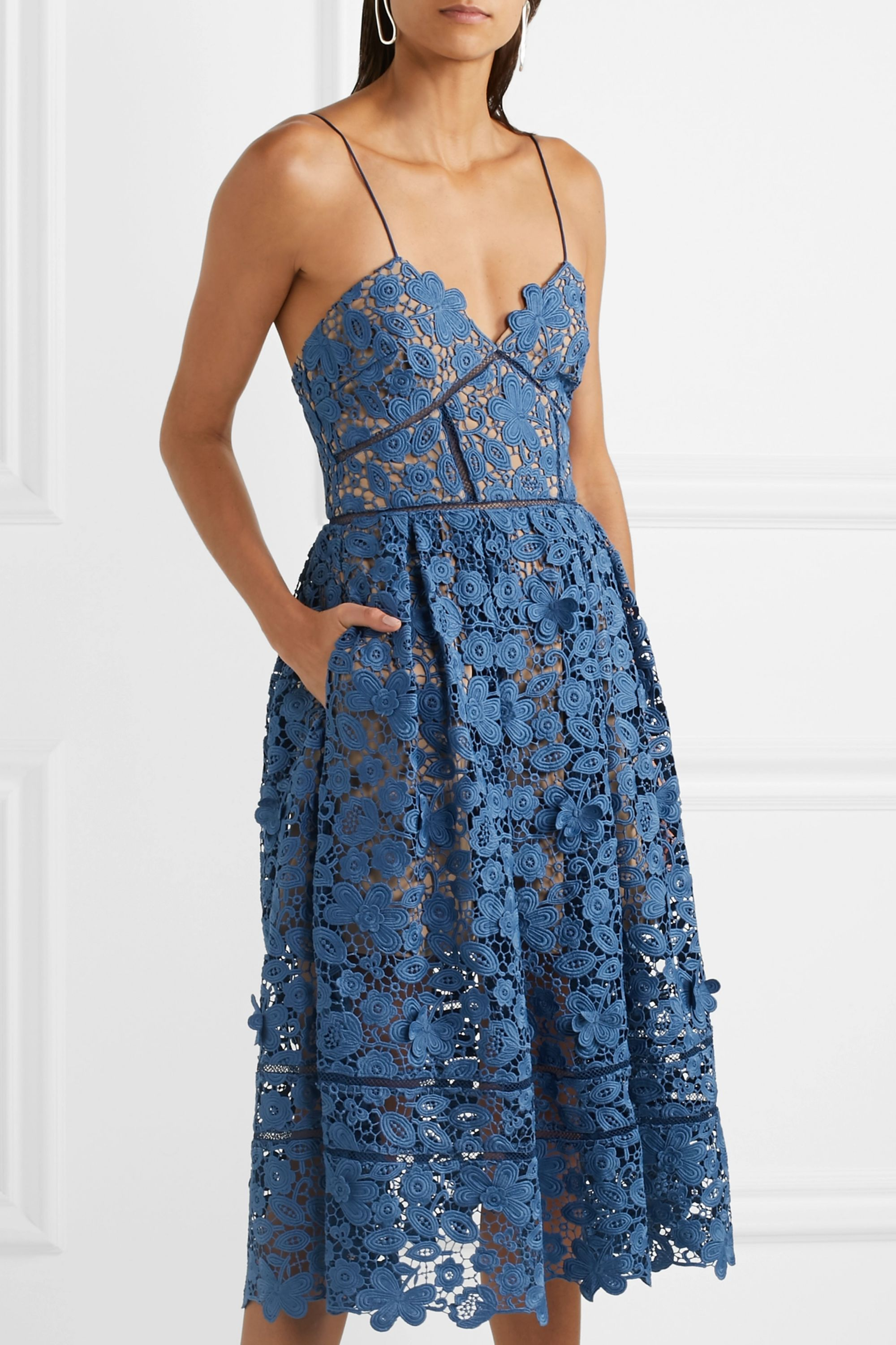 Self-Portrait Azaelea guipure lace midi dress