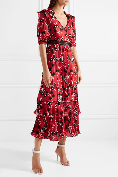 Self-Portrait Kleid aus Crêpe de Chine mit floralem Print und Spitzenbesatz