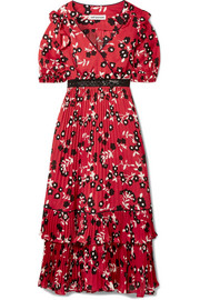 Guipure lace-trimmed floral-print crepe de chine dress