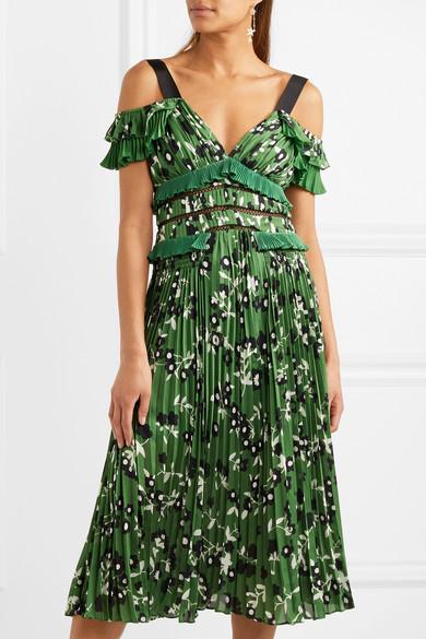 Self-Portrait Florales Kleid aus plissiertem Crêpe mit Spitzeneinsätzen und Schulter-Cut-outs