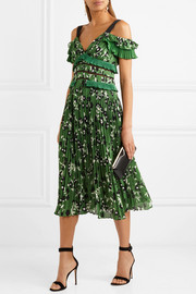 Cold-shoulder lace-trimmed floral-print plissé-crepe dress