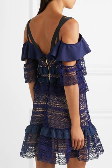 Self-Portrait Schulterfreies Minikleid aus Guipure-Spitze mit Rüschen aus Crêpe