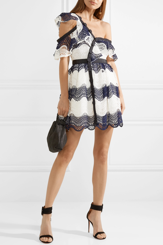 Self-Portrait One-shoulder striped guipure lace mini dress
