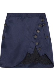 Lace-paneled wrap-effect satin mini skirt