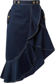 Asymmetric ruffled cotton-twill skirt