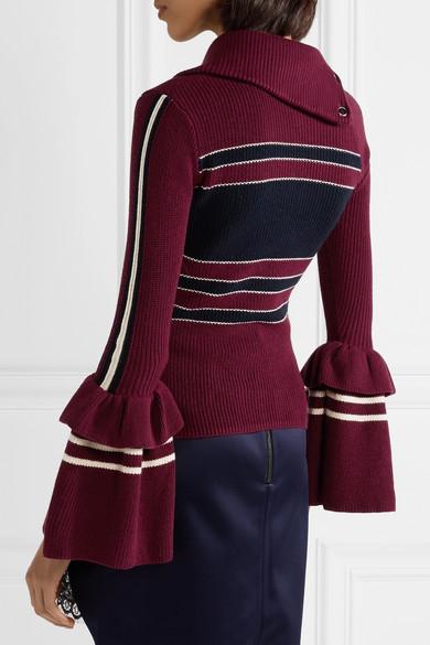 Self-Portrait Pullover aus einer gerippten Baumwollmischung mit Streifen und Schnürung