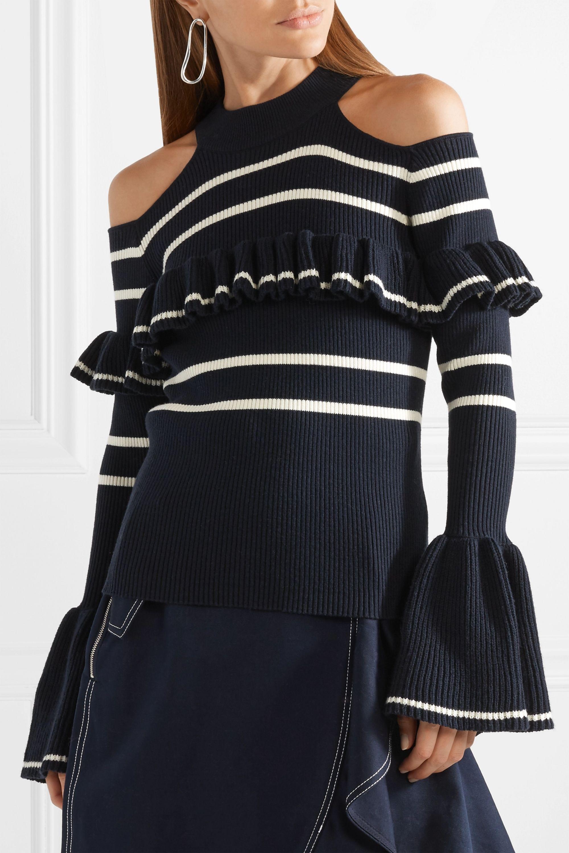 Self-Portrait Cold-shoulder striped cotton-blend sweater