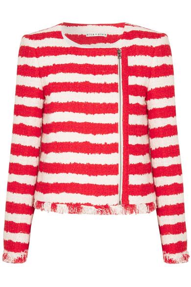 Alice + Olivia Stanton gestreifte Tweed-Jacke