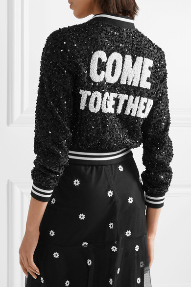 Alice + Olivia Lonnie Decorated Bomber Jacket In Silk Mousseline
