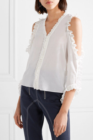 Alice + Olivia Claudette Blouse Ruffles From Stretch Silk With Cut-outs And