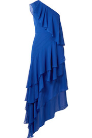 Alice + Olivia Alanis one-shoulder ruffled silk-chiffon gown