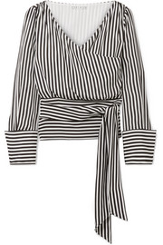 Alice + Olivia Alba striped silk wrap blouse