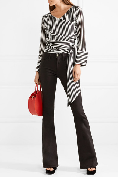 a530c972dc325 Alice + Olivia. Alba striped silk wrap blouse