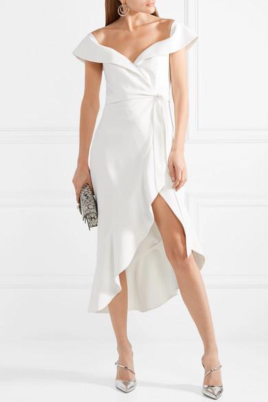 91bdbc010229 Josie off-the-shoulder wrap-effect crepe dress