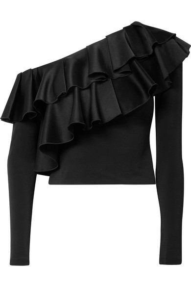 Izzy Cropped Ruffled Satin And Stretch Crepe Top by Alice + Olivia