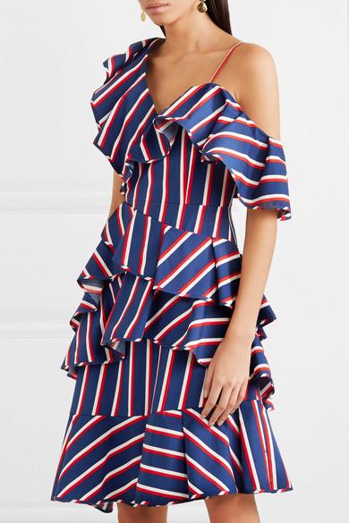 Alice + Olivia Gestreiftes Kleid aus Baumwoll-Twill mit asymmetrischer Schulterpartie