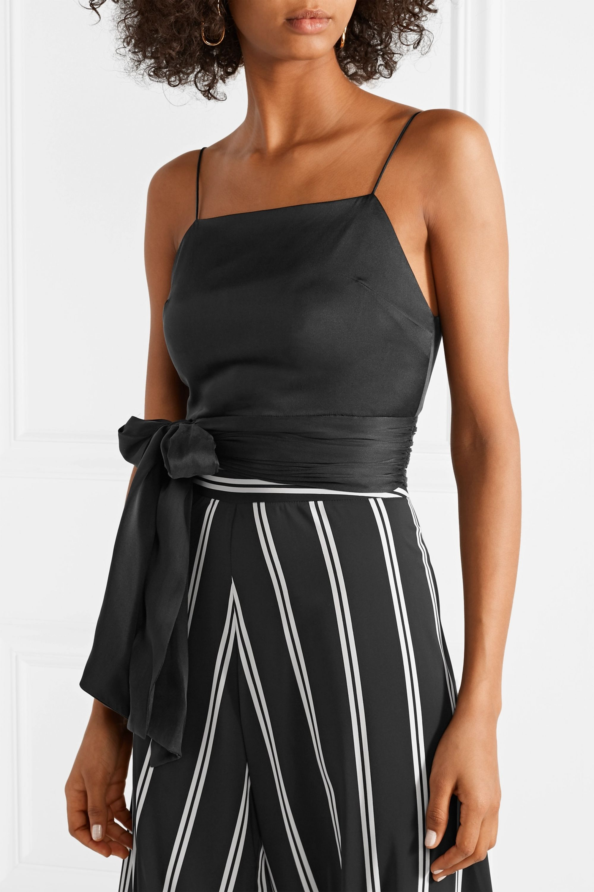 Alice + Olivia Deidra cropped silk-blend top